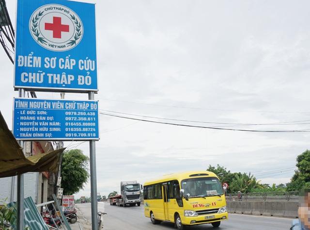 Điểm sơ cấp cứu Chữ thập Đỏ đặt tại nhà ông Hoàng Văn Dự (xóm 16, xã Diễn Yên, Diễn Châu, Nghệ An)