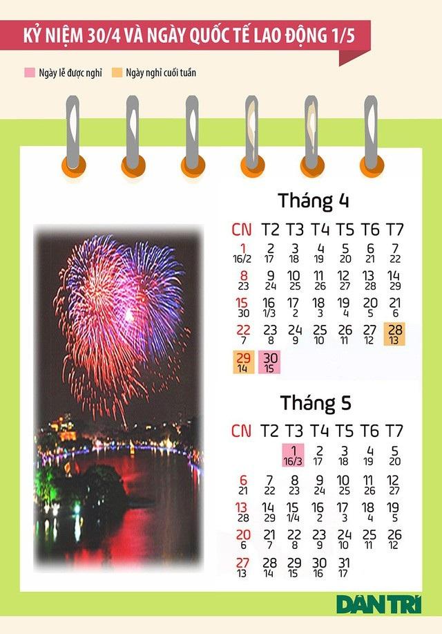Lịch các ngày nghỉ trong dịp 30/4 và 1/5 do Bộ LĐ-TB&XH công bố. (Minh hoạ: Vũ Toản).