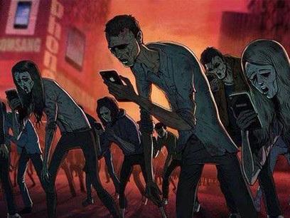 """Những người vừa đi bộ vừa dùng điện thoại di động đước ví như những """"xác sống"""", có thể gặp tai nạn gây nguy hiểm cho bản thân lẫn những người xung quanh"""
