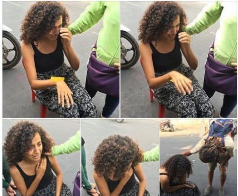 Nữ du khách hoảng sợ khi bị giật túi (Ảnh: Internet)