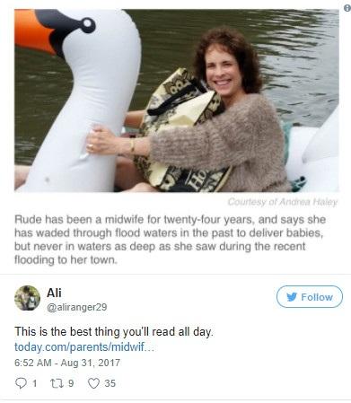 Hình ảnh đẹp: Người phụ nữ ngồi phao thiên nga vượt biển nước ở Texas đi đỡ đẻ - 2