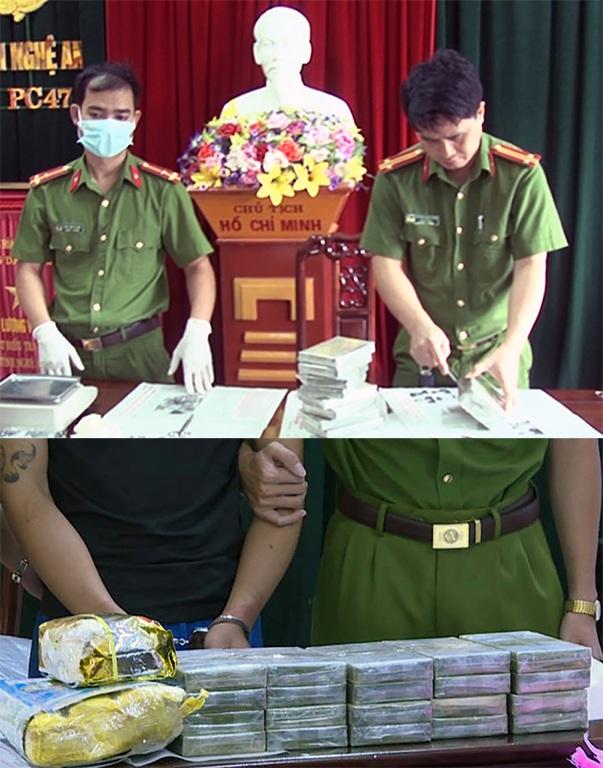 Tang vật của hai chuyến án gồm 40 bánh herôin (Ảnh: MK - NTV)