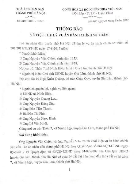 Hà Nội: Chủ tịch huyện Gia Lâm bị người dân khởi kiện ra tòa! - 1