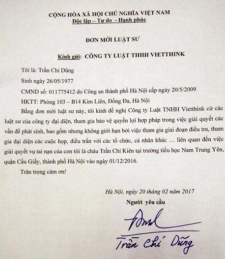 Đơn mời luật sư của bố cháu Trần Chí Kiên.