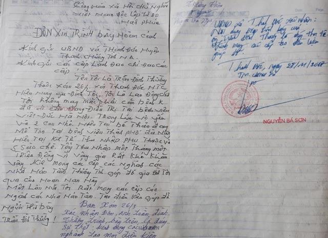 Xác nhận của UBND xã Thanh Đức về hoàn cảnh của anh Thường, chị Minh