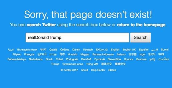 Thông báo tài khoản không tồn tại khi truy cập vào tài khoản Twitter của tổng thống Trump