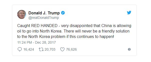 """Tổng thống Trump nói """"bắt quả tang"""" Trung Quốc tuồn dầu cho Triều Tiên. (Ảnh: Twitter)"""