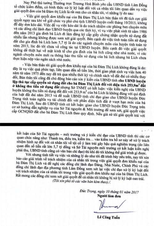 Ông Lê Công Tuấn cho rằng mình ký quyết định xử lý khiếu nại của bà Lích dẫn đến sai phạm là do làm theo hướng dẫn nghiệp vụ của Sở TN&MT tỉnh Lâm Đồng.