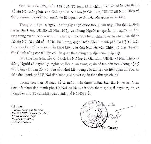 Chủ tịch huyện Gia Lâm bị người dân khởi kiện ra tòa.