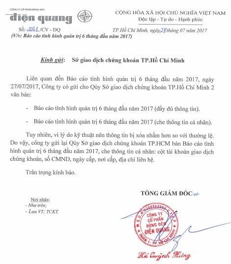 Giải trình của Bóng đèn Điện Quang trước việc thông tin sở hữu của cổ đông nội bộ và người có liên quan tại báo cáo quản trị công ty bị che.