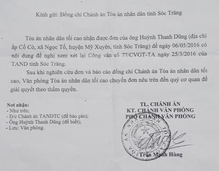 Công văn của TAND Tối cao chuyển vụ việc đến TAND tỉnh Sóc Trăng giải quyết.
