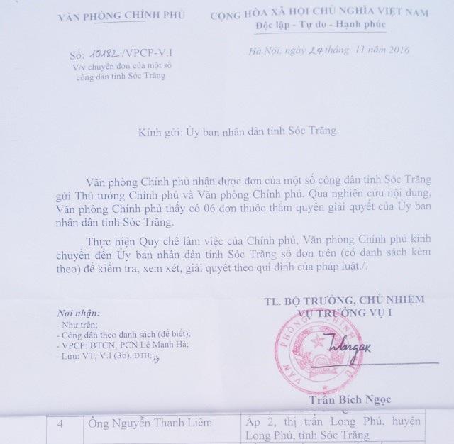 Công văn của Văn phòng Chính phủ chỉ đạo từ 1 năm trước, nhưng đến nay vẫn chưa thấy tỉnh Sóc Trăng xử lý.
