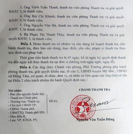 Quyết định Thanh tra toàn diện diện tích đất sân bay Miếu Môn.