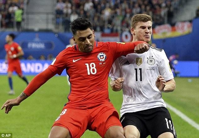 Gonzalo Jara trong một tình huống tranh chấp với Werner của Đức