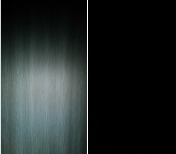 Ảnh chụp thông thường từ camera trước trong điều kiện không có ánh sáng sáng (phải), và khi chụp với Front Flash (trái) ở cùng điều kiện