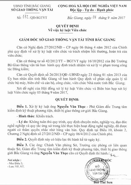 Quyết định kỷ luật hình thức khiển trách với ông Nguyễn Văn Thục - Phó giám đốc Trung tâm kiểm định kỹ thuật phương tiện, thiết bị giao thông cơ giới Bắc Giang.