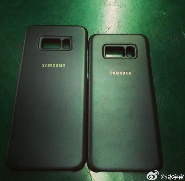 Hình ảnh lớp vỏ dành cho Galaxy S8 và S8 Plus với những khoảng trống dành cho camera, đèn flash và cảm biến vân tay