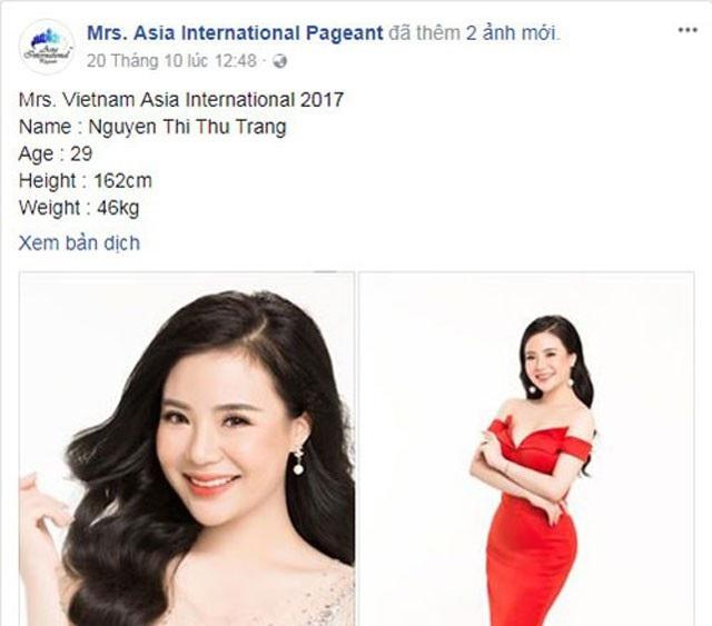 Hình ảnh Nguyễn Thu Trang trên fanpage Mrs Asia