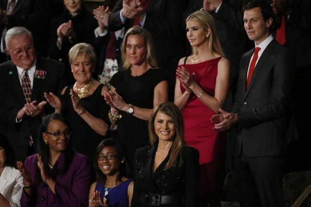 Đệ nhất phu nhân Melania và các con của Tổng thống Trump cũng có mặt tại trụ sở Quốc hội. (Ảnh: Reuters)