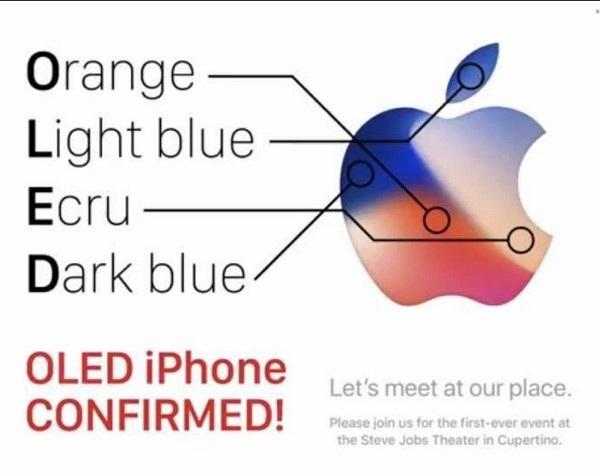 4 màu sắc trên logo của Apple ở thư mời ám chỉ đến việc iPhone mới sẽ sử dụng màn hình công nghệ OLED?