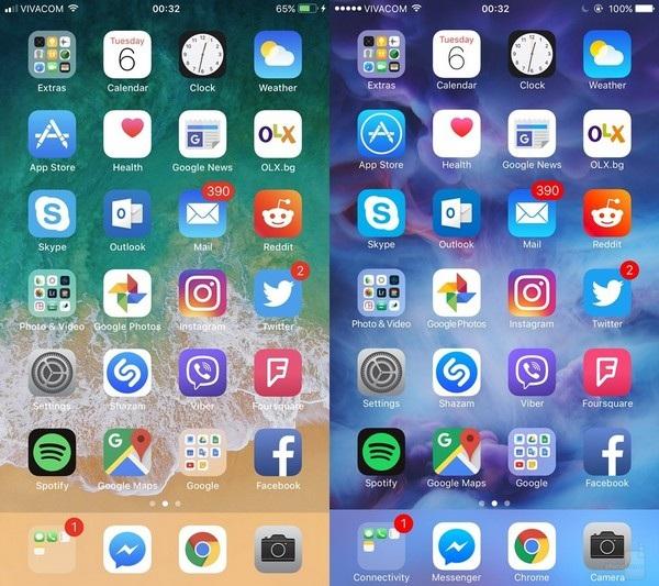 Màn hình chính: sự thay đổi về biểu tượng tính hiệu ở góc trên bên trái và tên gọi của thư mục cùng các ứng dụng bên dưới thanh công cụ của iOS 11 đã không còn.