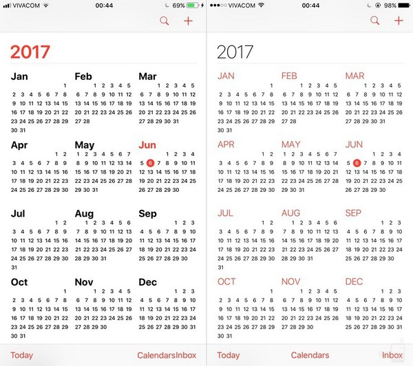 Ứng dụng lịch: giao diện ứng dụng lịch trên iOS 11 đậm nét và rõ ràng hơn trước đây.