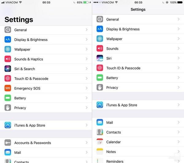 Mục cài đặt (Settings): giao diện trong mục Settings cũng đã có thay đổi nhưng không đáng kể.