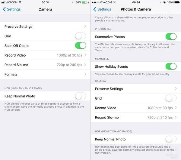 Thiết lập camera: tuy nhiên chức năng thiết lập trên camera của iOS 11 lại đơn giản hơn so với phiên bản trước.
