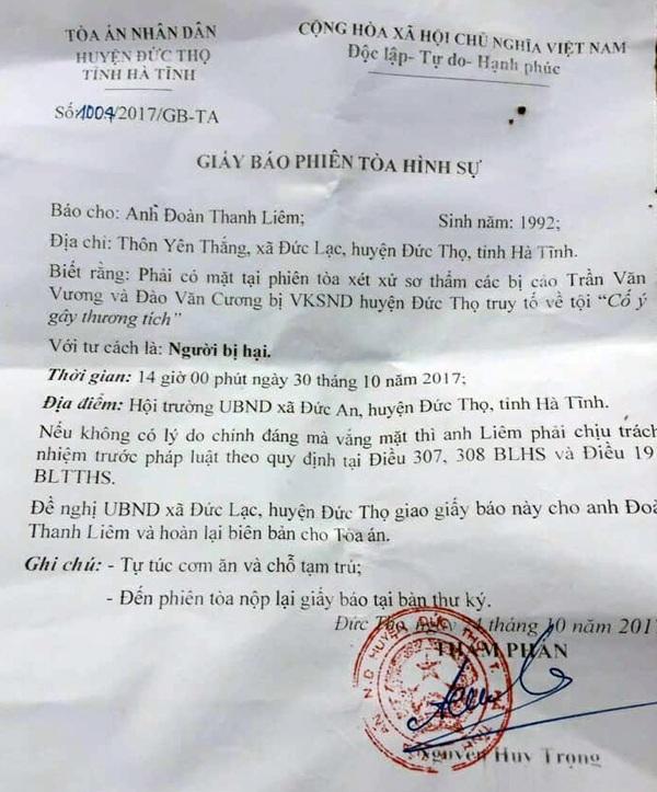 Theo giấy báo phiên tòa xét xử vụ truy sát này của TAND huyện Đức Thọ, phiên tòa có 2 bị cáo bị đưa ra xét xử.