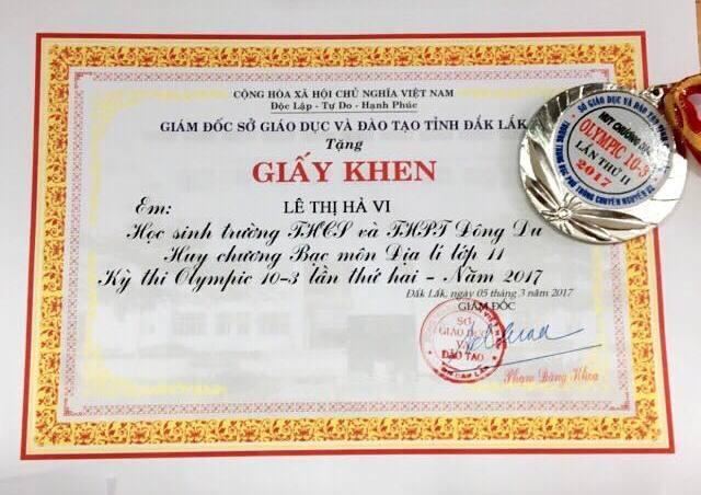 Nữ sinh Hà Vi vinh dự đạt huy chương Bạc Olympic môn Địa lý