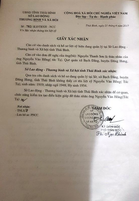 Giấy xác nhận của Sở LĐTB&XH trả lời là tra cứu không có hồ sơ liệt sỹ Nguyễn Văn Hồng