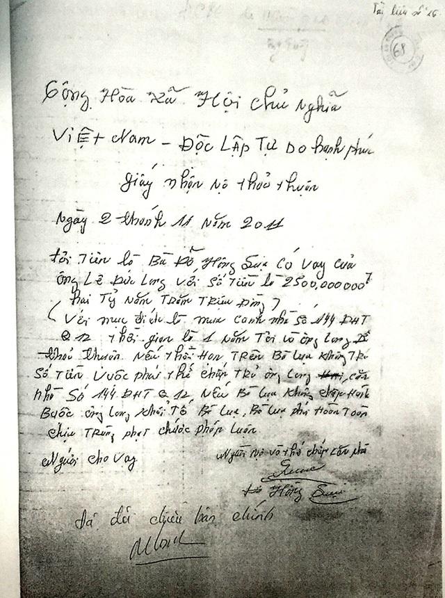 VKSND Cấp cao tại TP.HCM cho rằng, có đủ cơ sở để xác định giấy nhận nợ ngày 2/11/2011 được bà Lụa viết tại nhà riêng trong điều kiện bị ông Long dùng vũ lực đe doạ.