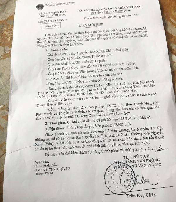 Giấy mời thông báo Chủ tịch UBND tỉnh Thanh Hóa sẽ đối thoại với dân vụ 1 thửa đất cấp 4 sổ đỏ ở thành phố Thanh Hóa.