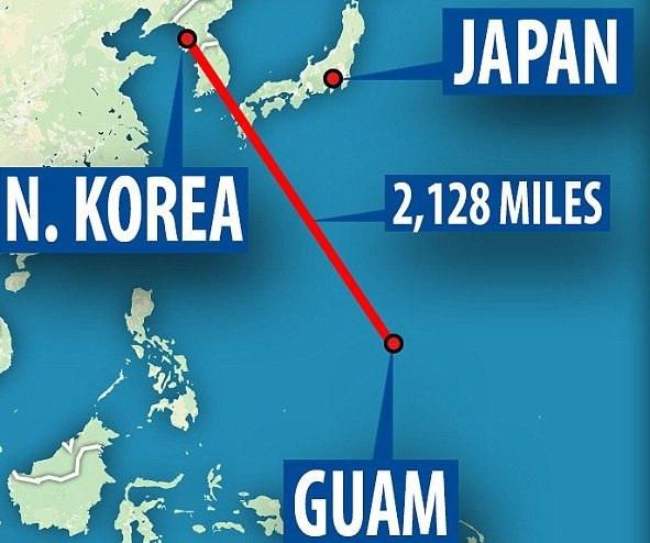 Đảo Guam cách Triều Tiên khoảng 3.600km. (Ảnh: Dailymail)