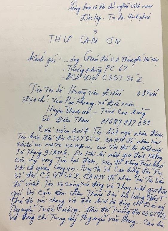 Bất ngờ nhận lại xe máy bị mất cắp, cụ ông xúc động viết thư cảm ơn các chiến sỹ CSGT - 2