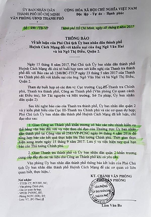 Phó Chủ tịch UBND TP.HCM Huỳnh Cách Mạng đã kết luận, chỉ đạo: Giao Công an TP khẩn trương có báo cáo nêu chính kiến cụ thể bằng văn bản đối với vụ mượn đất vàng rồi lấy luôn.