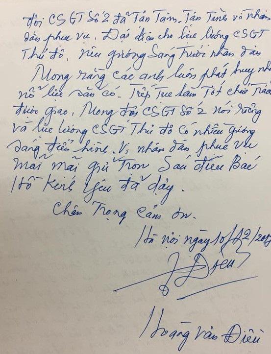 Cụ ông xúc động viết thư cảm ơn các chiến sỹ CSGT.