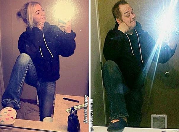 """Ông bố bất ngờ """"siêu hot"""" trên mạng xã hội vì bắt chước con gái - 2"""