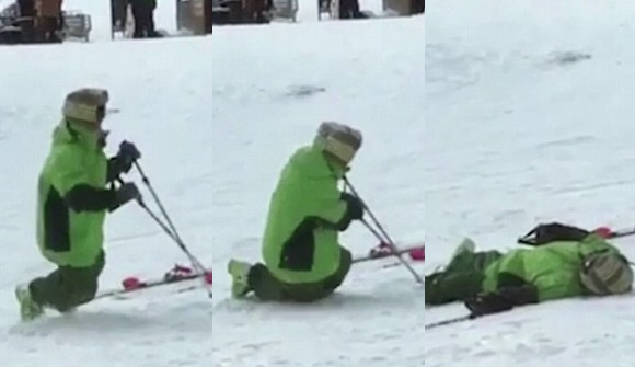 Lần đầu tiên trượt tuyết, lóng ngóng là điều khó tránh khỏi.