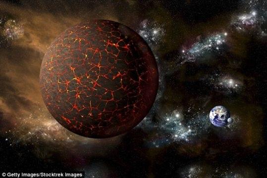 Ảnh mô phỏng cảnh tượng hành tinh Nibiru sắp sửa đâm vào Trái Đất.