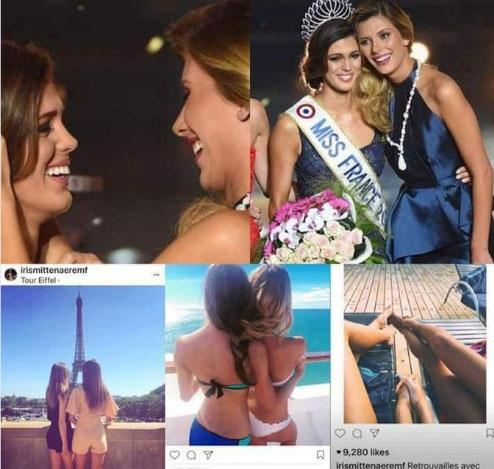 Những bức ảnh thân thiết của Iris Mittenaere với người đẹp Camille Cerf làm rộ lên tin đồn về giới tính của tân hoa hậu hoàn vũ.