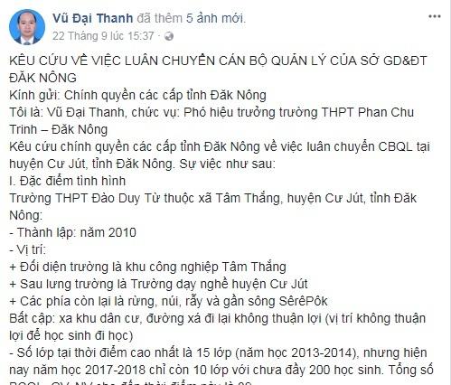 Chia sẻ kêu cứu trên facebook của thầy Thanh
