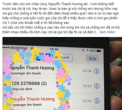 Vợ ca sĩ Duy Khánh bất ngờ tố diễn viên Thanh Hương quan tâm chồng mình một cách thái quá. (Ảnh: FB).
