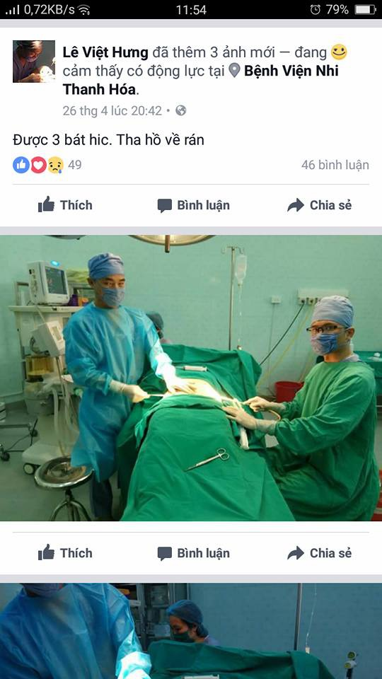 Hình ảnh phẫu thuật thẩm mỹ cho khách hàng tại Bệnh viện Nhi Thanh Hóa được bác sĩ Hưng đưa lên face book cá nhân