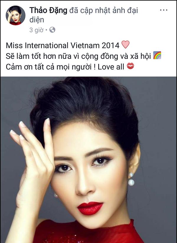Chia sẻ của Hoa hậu Đại dương 2014 Đặng Thu Thảo trên trang cá nhân