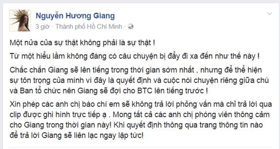 Chia sẻ của Hương Giang trên trang cá nhân