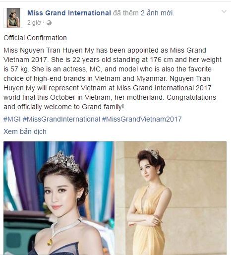 Trên trang Fanpage của Miss Grand International đã đăng tải thông tin Huyền My đại diện Việt Nam tham dự cuộc thi này.