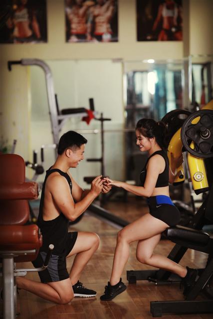 Ảnh cưới của cặp đôi mê tập gym, dáng chuẩn