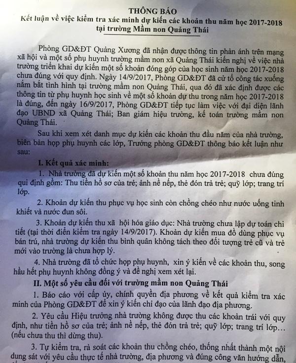 Kết luận của Phòng GD-ĐT huyện Quảng Xương