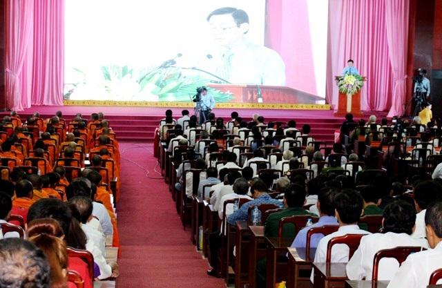Buổi họp mặt Tết Chol Chnam Thmay. (Ảnh: Cao Xuân Lương)